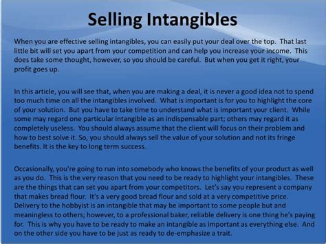 selling intangibles