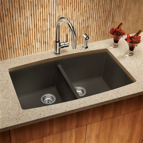 Shop Blanco Performa 20 In X 33 In Cafe Brown Double Basin Kitchen Sink Cafe