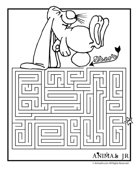 maze coloring pages printable coloring page for kids printable spring rabbit maze woo jr kids activities