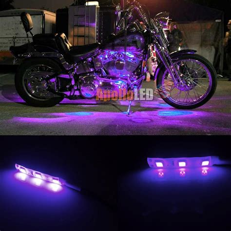 led accent light strips 2x 5050 smd purple led lights for motorcycle glow accent lighting 790683800898 ebay