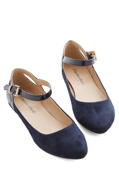 Ready Tb Flat Shoes 4 ready to impress flat in navy mod retro vintage flats modcloth