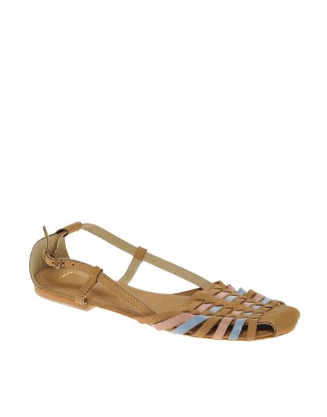 woven flat shoes asos asos mex leather woven flat shoes in brown multi lyst