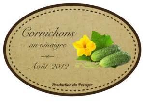 etiquette pour vos conserves de cornichons autour du potager