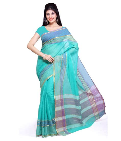 Online Home Decor Cheap 50 off on aisha blue printed cotton sarees on snapdeal