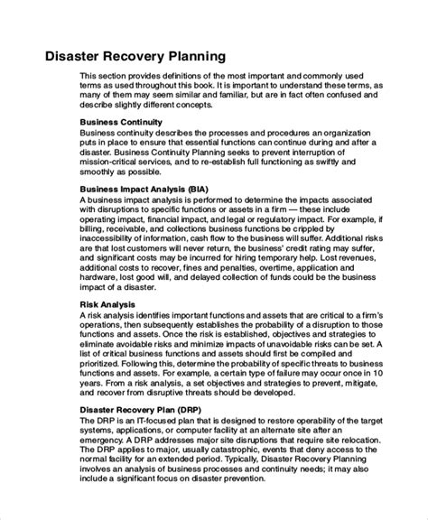 data recovery plan template 9 disaster recovery plan exles free premium templates