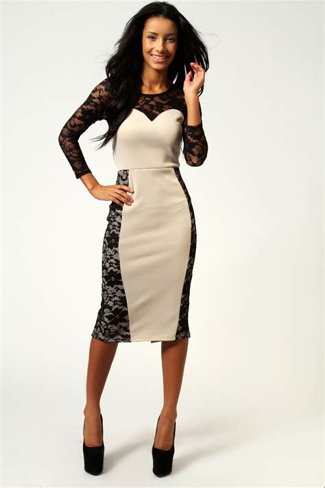 boohoo hatty lace sweetheart neck midi bodycon dress in