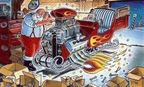 santas hot rod sleigh cool car drawings