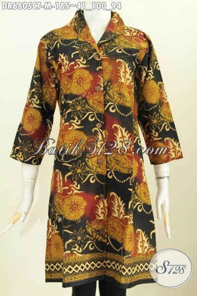 Baju Wanita Keren baju batik wanita keren dress batik kerah langsung motif mewah proses cap tulis untuk kerja dan