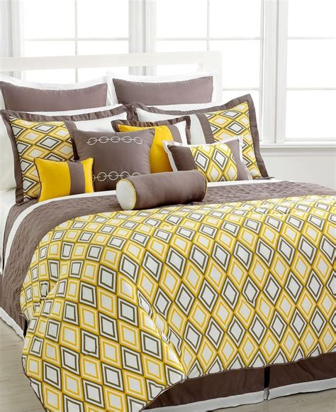 Grey And Yellow Bed Sets King Yellow Grey Beige Comforter Set Wi Coverlet Sheet Set