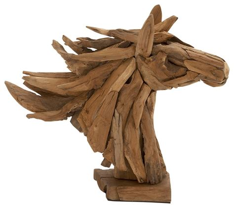 home decor sculpture teak driftwood horse head sculpture rustic home decor