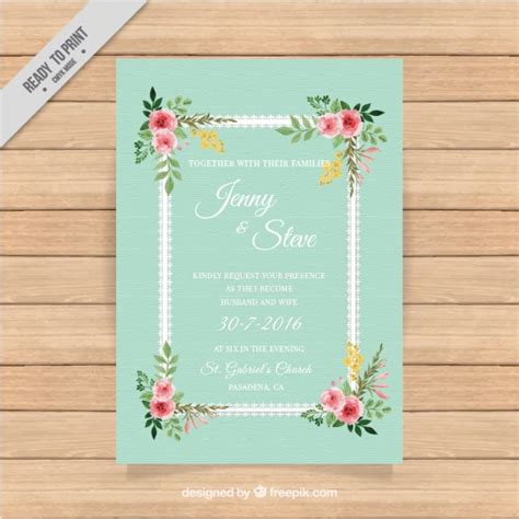 Wedding Card Vintage by Vintage Wedding Card With A Floral Frame Vector Free