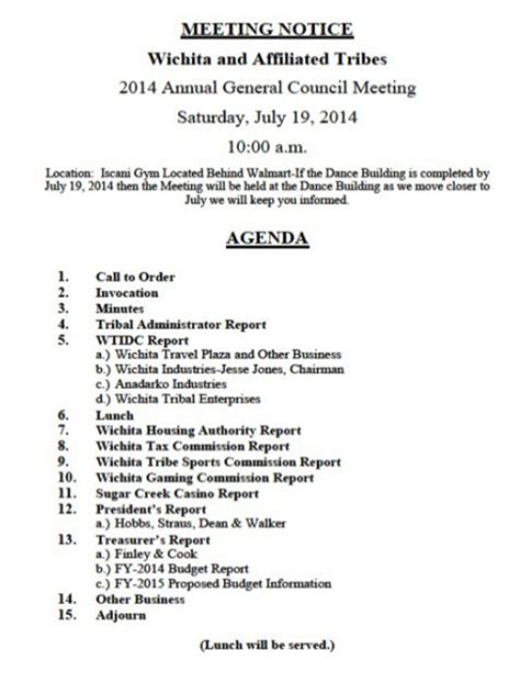 notice of meeting template 15 meeting agenda templates excel pdf formats