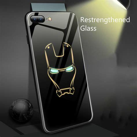 coque marvel batman iron man luminous glass phone case
