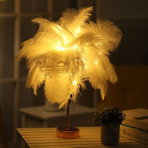 nordic diy natural ostrich feather night light table lamp