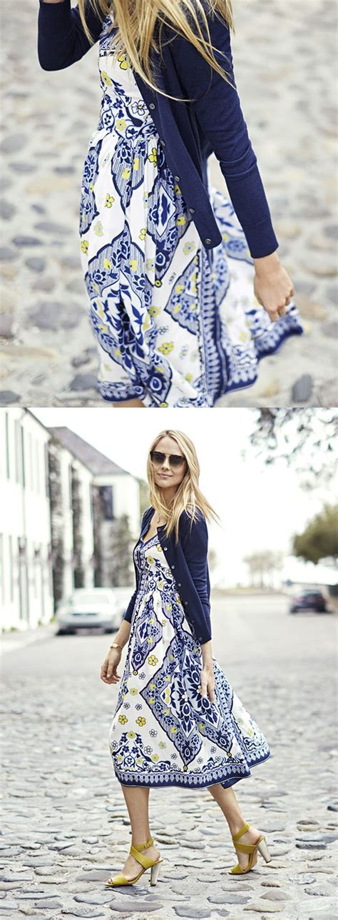 a printed dress navy blazer and yellow shoes ladystyle