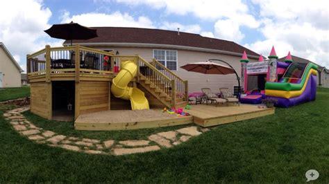 backyard kids house deck with slide sandbox and playhouse outdoor space pinterest sandbox decks