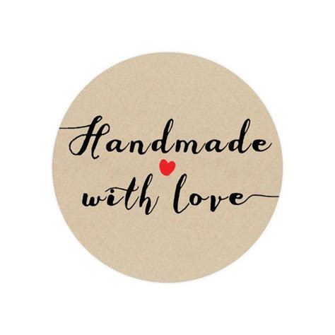 Handcrafted By - 50 handmade stickers circle stickers handmade with