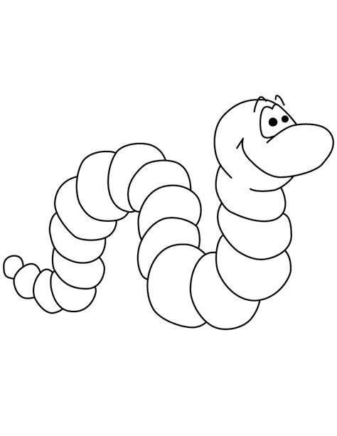 cute worm colouring pages