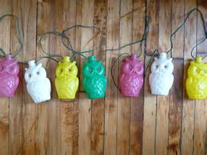 Owl Patio Lights Vintage Owl String Lights Plastic Bright Colorful Tiki