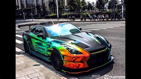 nissan chrome wrap chrome rainbow nissan gt r