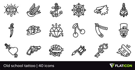 small old school tattoos school 40 premium icons svg eps psd png files