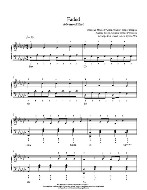 alan walker faded piano faded by alan walker piano sheet music advanced level