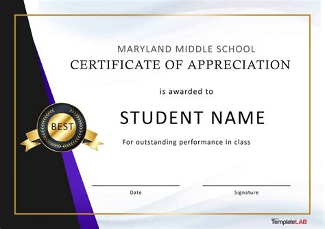 effective certificate award template example for appreciating