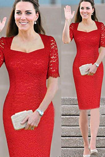 Versase Pink Black Korea Shantcoll kate middleton style sleeves lace knee