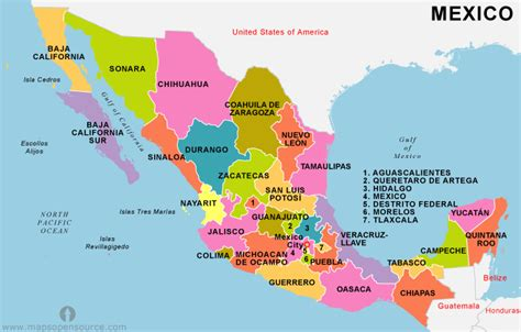 map of mexico showing states free mexico states map states map of mexico mexico
