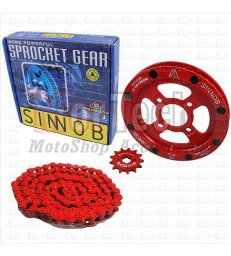 Gear Set Rantai Motor Chain Kit Sinnob Premium Mx King Merah chain kit gear ger gir set rantai sinnob colour