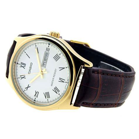 Jam Tangan Casio Original Gold jual jam tangan pria gold leather casio original mtp