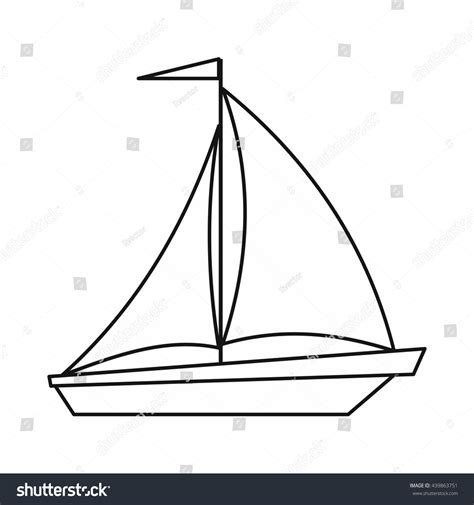 boat outline pic boat sails icon outline style stock vector 439863751