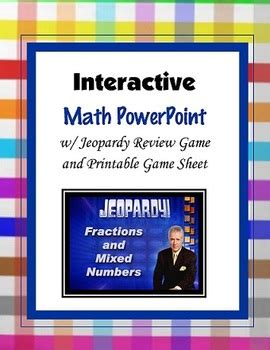Fractions And Mixed Numbers Jeopardy Powerpoint Game By Roxygirl Teacher Jeopardy Review Powerpoint