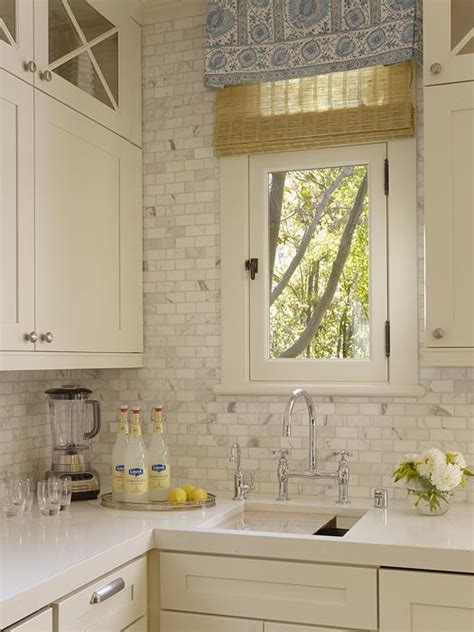 carrara marble backsplash transitional kitchen