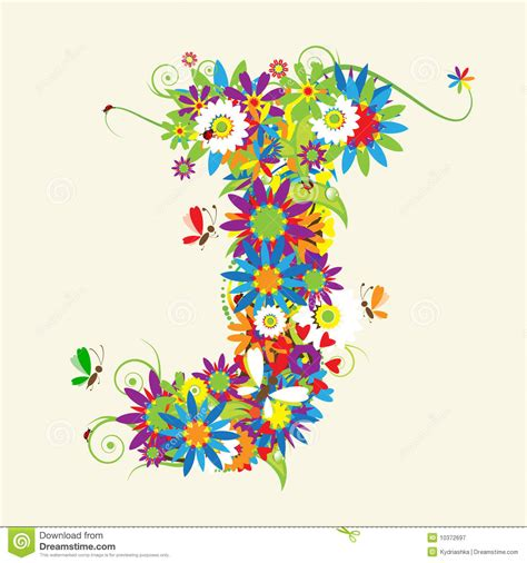 Floral J letter j floral design royalty free stock photography