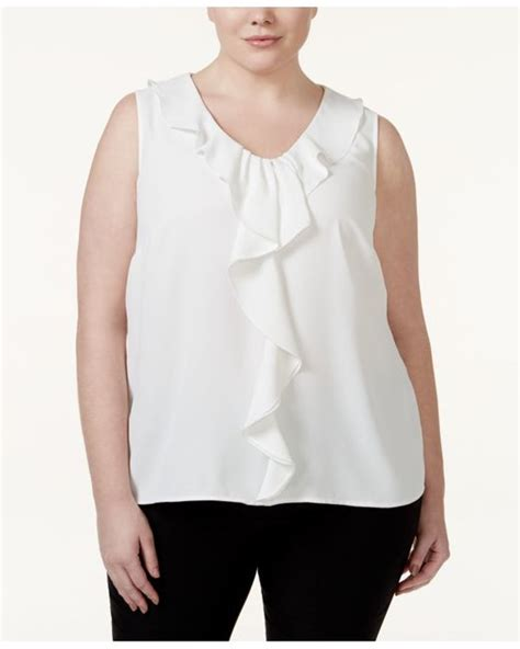 White Ruffle Sleeveless Top Size Sm nine west plus size ruffle trim sleeveless blouse in white save 27 lyst