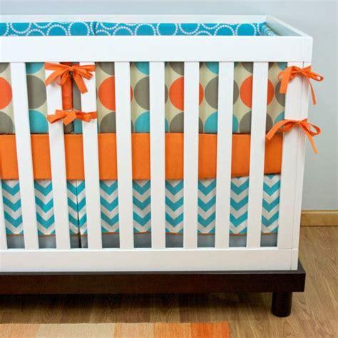 Orange And Turquoise Crib Bedding Crib Bedding Neutral Baby Boy Nursery Bedding Cribset Orange Aqua Gray Dots Chevron Nursery