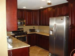 Kitchen Furniture Direct Magnificent Marble Countertops In U Shaped Cherry Stained Oak Cabinet Plus Ceramic