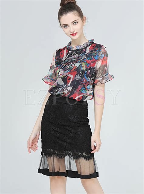 Style Vintage Tees Crop Top Original Design Zara lace and mesh blouse lace henley blouse