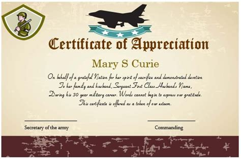 20 professional army certificate of appreciation