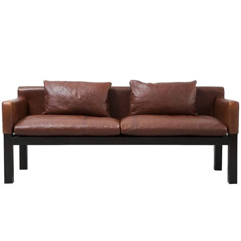 dunbar ashwood post and beam leather sofa by saladino