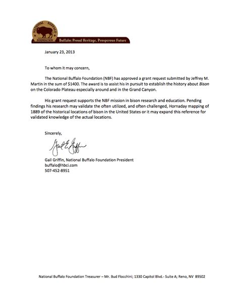 Research Grant Letter Of Support Bison Foundation Supports Fossil Research Experiment