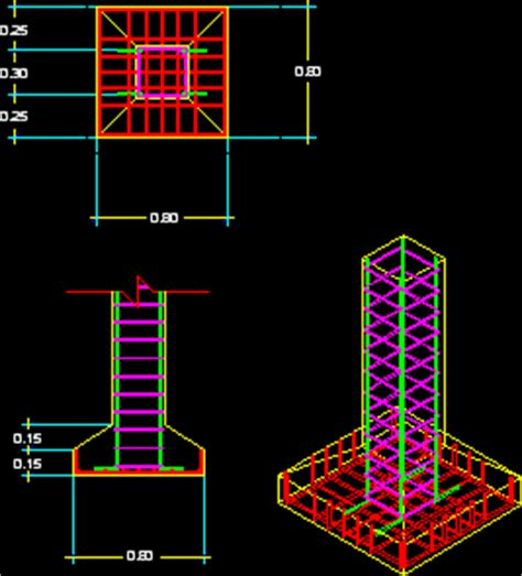 shoe  foundation dwg section  autocad designs cad