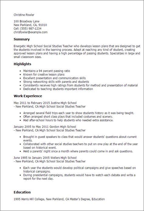 professional high school social studies teacher templates