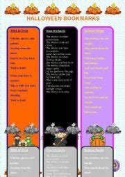 free printable riddle bookmarks english worksheets halloween bookmarks with riddles b w