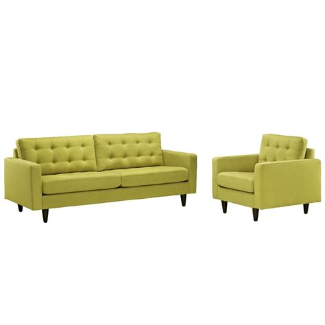 empress modern 2pc button tufted leather sofa and armchair