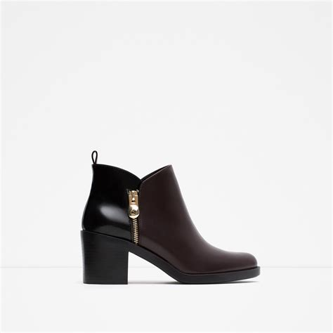 zara combined ankle boots in purple lyst