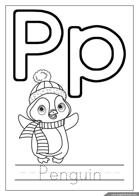 P For Penguin Coloring Page by Alphabet Coloring Pages Letters K T