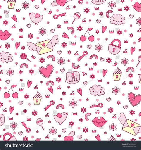 cute icon pattern seamless cute icon love vector pattern stock vector