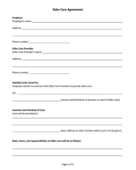 Free Printable Pdf Form Elder Care Agreement Free Legal Forms Elderly Care Printables Free Caregiver Contract Template